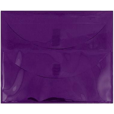 JAM Paper® Plastic 2 Pocket Envelopes, VELCRO® Brand Closure, Letter Booklet, 9.75 x 13, Purple Poly, 10/Pack (2163613461g)