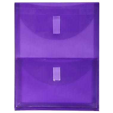 JAM Paper® Plastic 2 Pocket Envelopes, VELCRO® Brand Closure, Letter Open End, 9.75 x 11.75, Purple Poly, 10/Pack (2163613481g)