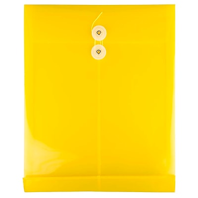 JAM Paper® Plastic Envelopes with Button and String Tie Closure, Letter Open End, 9.75 x 11.75, Yellow Poly, 12/pack (118B1YE)