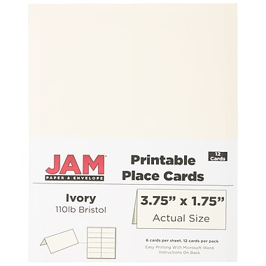 JAM Paper® Printable Place Cards, 1.75 x 3.75, Ivory Placecards, 2 packs of 12 (2225916895g)