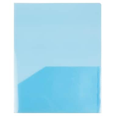 JAM Paper® Plastic See Through Two Pocket Folder, Blue, 12/Pack (381bluedg)