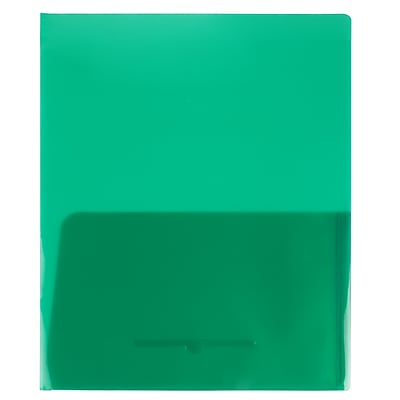 JAM Paper® Plastic See Through Two Pocket Folder, Green, 108/pack (381GREEN108)