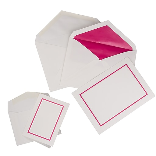 JAM Paper® Stationery Cards Combo Set, Pink Border, 1 Small & 1 Large Set, 150/Pack (2237719067)