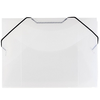JAM Paper® Index Card Case with Elastic Closure, 5.5 x 7.5 x.38, Clear, 4/Pack (334551g)