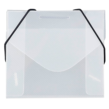 JAM Paper® Plastic CD Case Portfolio with Elastic Closure, 5 x 5.63 x.38, Clear, 5/Pack (2503 001g)