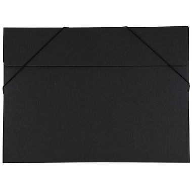 JAM Paper® Kraft Chipboard Portfolio, Elastic Closure, Large, 11 x 15 x.38, Black Kraft, 2/Pack (6102 202g)