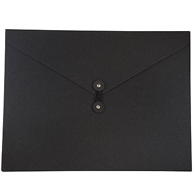JAM Paper® Kraft Chipboard Portfolio, Button and String Tie Closure, Jumbo, 12.5 x 16.5 x 0.5, Black Kraft, 2/Pack (3039 202g)