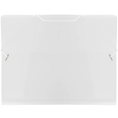 JAM Paper® Plastic Paper Holder Action Case with Elastic Closure, Letter 9.5 x 12.38, Clear, 4/Pack (56202g)