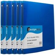 JAM Paper® Plastic 3 Ring Binder, 0.75 inch, Blue, 5/Pack (53016bug)