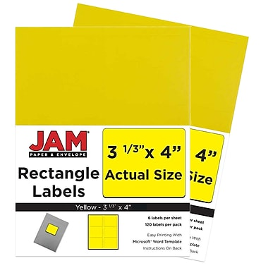 JAM Paper® Mailing Address Labels, 3 1/3 x 4, AstroBrights® Solar Yellow, 2 packs of 120 (302725803g)