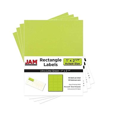 JAM Paper® Mailing Address Labels, 1 x 2 5/8, AstroBrights® Terra Lime Green, 4 packs of 120 (302725778g)