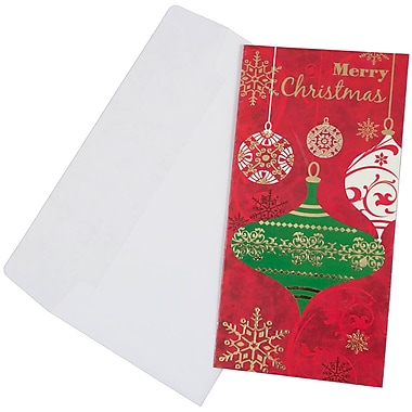 JAM Paper® Christmas Money Cards Set, Merry Christmas Ornaments, 24/Pack (95227797g)