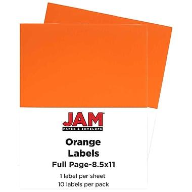 Jam PaperMD – Étiquettes autocollantes pleine page Astrobright, 8 1/2 x 11 po, orange orbite, 10/paquet