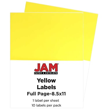JAM Paper® Full Page Labels, 8.5 x 11 Sticker Paper, AstroBrights® Solar Yellow, 2 packs of 10 (337628610g)
