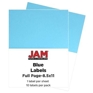 Jam PaperMD – Étiquettes autocollantes pleine page Astrobright, 8 1/2 x 11 po, bleu lune, 10/paquet