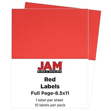 Jam PaperMD – Étiquettes autocollantes pleine page Astrobright, 8 1/2 x 11 po, rouge comète, 10/paquet