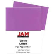 JAM Paper® Full Page Labels, 8.5 x 11 Sticker Paper, AstroBrights® Planetary Purple, 2 packs of 10 (337628762g)