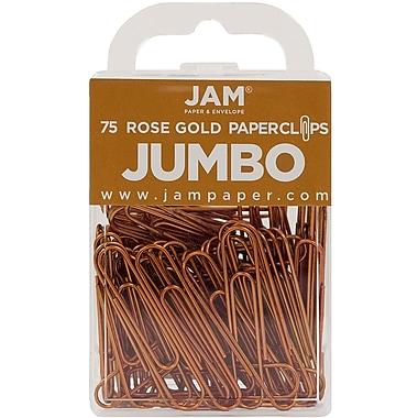 JAM Paper – Trombones géants multicolores, grand, rose doré, 75/paquet (21832059)