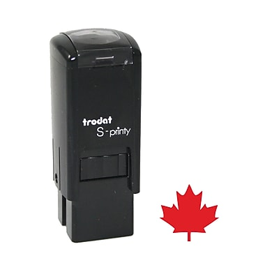 Trodat® S-Printy 4921 Self-Inking Mini Stamp, Maple Leaf Impression, Red Ink