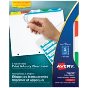 avery 5 tab dividers multi color