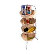 Mind Reader 4 Tier Woven Baskets All Purpose Round Mobile Utility Cart, Brown (4TCARWOVE-BRN)