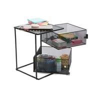 Mind Reader 2 Tier Basket Rack Shelf, Black (KMAG2T-BLK)