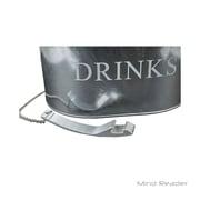 Mind Reader Galvanized Metal Oval Beverage Holder with Bottle Opener, Silver (OVALB6-SIL)