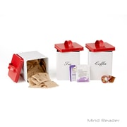 Mind Reader 3-Piece Metal Canister Set for Kitchen, Coffee, Sugar, Tea, and More (SANCAN3-WHT)