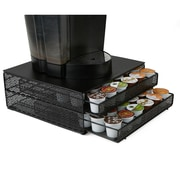 Mind Reader 72 Capacity Double K-Cup Storage Tray with Flower Pattern Metal Mesh, Black (DBMTRAY-BLK)