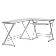 Techni Mobili L-Shaped Tempered Glass Top Computer Desk with Keyboard Panel, Clear (RTA-3802-GLS)