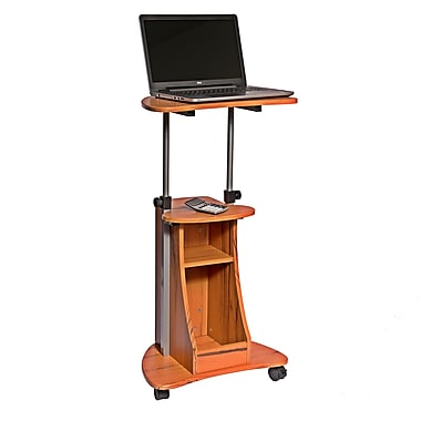 Techni Mobili Sit-to-Stand Rolling Adjustable Height Laptop Cart, Woodgrain (RTA-B002-WG01)