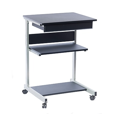 Techni Mobili Graphite Laptop Cart with Drawer, Graphite (RTA-B018-GPH06)