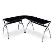 Techni Mobili L-Shaped Tempered Glass Top Corner Desk with Keyboard Tray, Black (RTA-0039LC-BK)