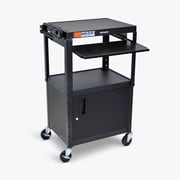 Luxor Adjustable Height Black Metal A/V Cart with Pullout Keyboard Tray and Cabinet (AVJ42KBC)