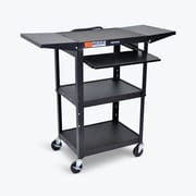 Luxor Adjustable Height Black Metal A/V Cart with Pullout Keyboard Tray & 2 Drop Leaf Shelves (AVJ42KBDL)
