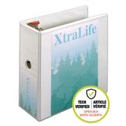 "Cardinal® 26350 XtraLife ClearVue Locking D-Ring 5"" Binder, White (Open Box)"