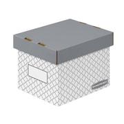 Bankers Box EZ-STOR Small Storage Box, Grey Trellis, 4/Pack
