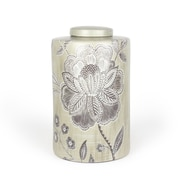 Rhett Round Flower Pattern Ceramic Jar