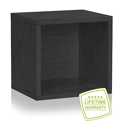Way Basics Eco Stackable Connect Open Storage Cube and Cubby Organizer, Black Wood Grain - Lifetime Guarantee