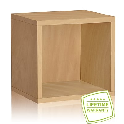 Way Basics Eco Stackable Connect Open Storage Cube and Cubby Organizer, Natural Wood Grain - Lifetime Guarantee