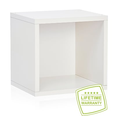 Way Basics Eco Stackable Connect Open Storage Cube and Cubby Organizer, White - Lifetime Guarantee