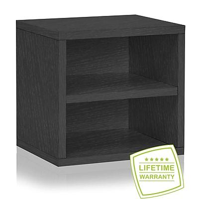Way Basics Eco Stackable Connect Storage Cube with Shelf, Black Wood Grain - Lifetime Guarantee