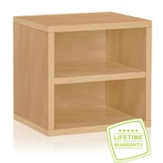 "Way Basics C-SCUBE-NL 12.6""H x 13.4""W Modular Connect Cube with Shelf Eco Storage System, Natural Wood Grain"