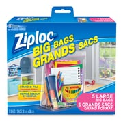 Ziploc Double-Zipper Big Bags, Large, 5/Pack