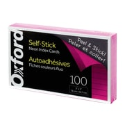 "Oxford® Self-Stick Index Cards, 3"" x 5"", Ruled, Neon Pink, 100/Pack"