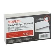 "Staples Heavy Duty Ruled Index Cards, 3"" x 5"", White, 100/Pack"