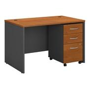 Bush Business Furniture Westfield 48W x 30D Office Desk with Mobile File Cabinet, Natural Cherry (SRC048NCSU)