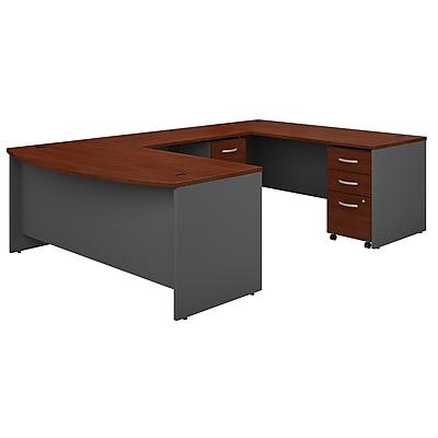 Bush Business Furniture Westfield 72W x 36D Bow Front U Shaped Desk w/ Mobile File Cabinets, Hansen Cherry (SRC043HCSU)