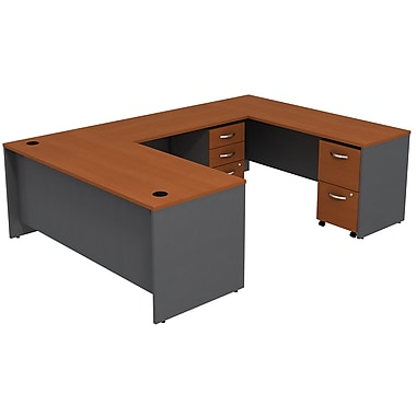 Bush Business Furniture Westfield U Shaped Desk with 2 Mobile Pedestals, Auburn Maple (SRC047AUSU)