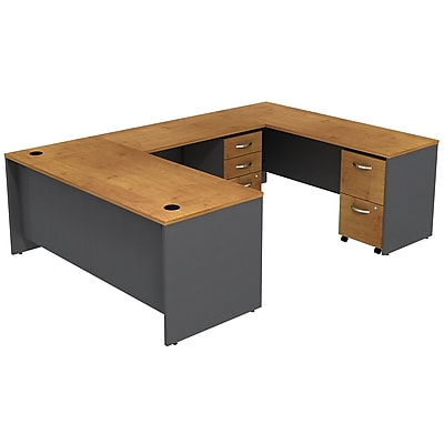 Bush Business Furniture Westfield U Shaped Desk with 2 Mobile Pedestals, Natural Cherry (SRC047NCSU)